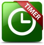 Grüner quadratischer Knopf des Timers Stockfoto