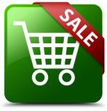 Grüner quadratischer Knopf des Verkaufs Stockfoto