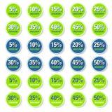 Grüner Rabattkreisaufkleber Stockfotos