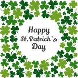 Grüner Rahmen mit Klee für St Patrick Tag Vektor lizenzfreie abbildung