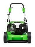 Grüner Rasenmäher lokalisiert auf weißem Hintergrund Lizenzfreies Stockfoto