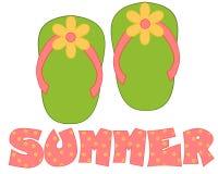 Grüner, rosafarbener Flipflop-Sommer Stockbild
