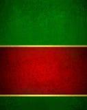 Grüner roter Weihnachtshintergrund mit Weinlesebeschaffenheit und Gold trimmen Akzent Weihnachtsband Lizenzfreies Stockfoto