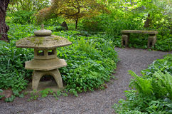 Grüner ruhiger japanischer Garten Stockfotografie