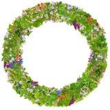 Grüner runder Fotorahmen Ostern lokalisiert Stockfotografie