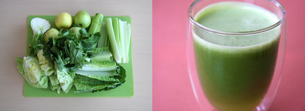 Grüner Saft vom Frischgemüse Stockfotos