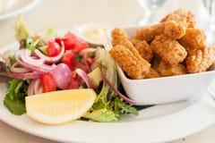 Grüner Salat mit Calamari Lizenzfreie Stockbilder