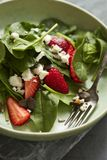 Grüner Salat mit Erdbeeren und Feta stockfotos