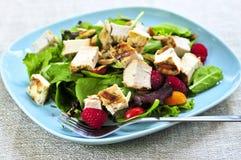 Grüner Salat mit gegrilltem Huhn Lizenzfreies Stockfoto