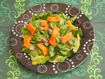 Grüner Salat mit Lachsfischen Lizenzfreies Stockbild