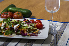Grüner Salat mit Radicchio und Tomaten Lizenzfreie Stockfotografie