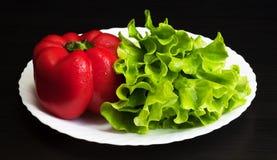 Grüner Salat und rote Pfeffer auf einer Platte Stockfoto