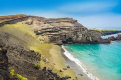 Grüner Sandstrand, große Insel, Hawaii Stockfotos