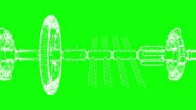 Grüner Schirm, abstrakte technische Zeichnung bewegt sich horizontal, nahtlose Schleife, CG-Animation lizenzfreie abbildung