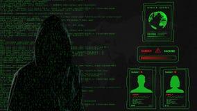 Grüner Schirm des Hackers stock video footage