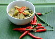 Grüner Schweinefleisch Curry, siamesische Küche lizenzfreie stockbilder