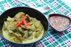 Grüner Schweinefleisch Curry, siamesische Küche stockbilder