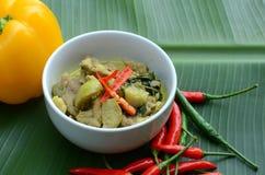 Grüner Schweinefleisch Curry, siamesische Küche Stockbild