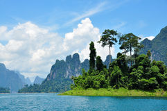Grüner See mit perfektem Himmel Stockfotos