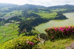 Grüner See von furnas Sao Miguel, die Azoren-Inseln, Portugal stockbilder
