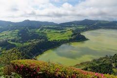Grüner See von furnas Sao Miguel, die Azoren-Inseln, Portugal stockfoto