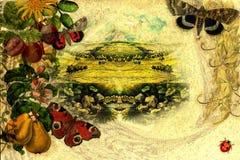 Grüner Sommerblumenrand-Weinlesehintergrund Stockbild