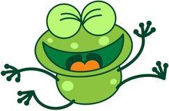 Grüner springender und feiernder Frosch Stockfotografie