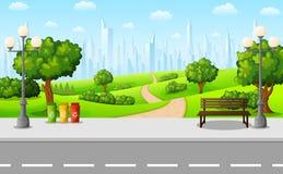 Grüner Stadtpark mit Bank und Straßenbeleuchtung auf Vorstadt vektor abbildung