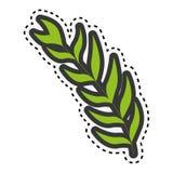 Grüner Stamm des Aufklebers mit vielen ovalen Blättern lizenzfreie abbildung