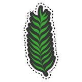 Grüner Stamm des Aufklebers mit vielen verlässt lizenzfreie abbildung