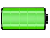 Grüner Status Ikone der Batterie 3d voll Lizenzfreie Stockfotografie