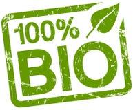 grüner Stempel mit Text 100% BIO Lizenzfreie Stockfotos