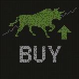 Grüner Stier auf geführtem Schirm Stockfotografie