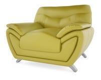 grüner Stuhl 3D auf einem weißen Hintergrund Stockbilder