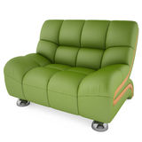 grüner Stuhl 3D auf einem weißen Hintergrund Stockbild