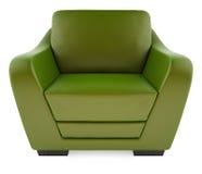 grüner Stuhl 3D auf einem weißen Hintergrund stockfotografie