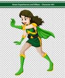 Grüner Superheld Stockbild