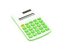 Grüner Taschenrechner auf weißem Hintergrund Lizenzfreies Stockfoto