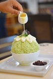 Grüner Tee bingsu Bonbon im Sommer Lizenzfreies Stockbild