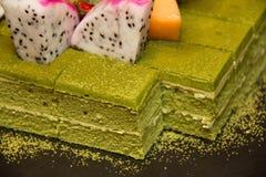 Grüner Tee-Kuchen Stockbild