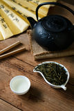 Grüner Tee Liuan-Blattes mit Teesuppe Stockbild