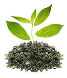 Grüner Tee mit Blatt Stockfoto