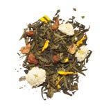 Grüner Tee mit Blumen und Früchten lizenzfreie stockbilder