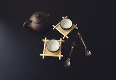 Grüner Tee mit Cup und Teekanne Lizenzfreies Stockfoto
