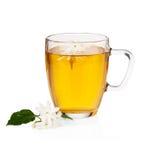 Grüner Tee mit Jasminblumen über Weiß Lizenzfreie Stockfotografie