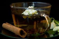 Grüner Tee mit Jasmin und Zimt Stockfoto
