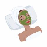 Grüner Tee-natürliche Maske auf Schönheits-Gesicht, Vektor-Design Stockfotografie