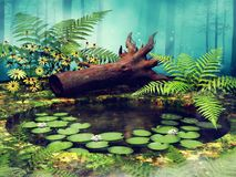 Grüner Teich mit Farnblättern und -blumen lizenzfreie abbildung