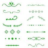 Grüner Teilervektor auf weißem Hintergrund Handdrawn Grenzen Einzigartiger Strudel, Teiler Tinte, Bürstenlinien, Lorbeersatz lizenzfreie abbildung