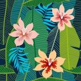 Grüner tropischer Hintergrund mit Bananenblättern und -blumen Lizenzfreie Stockfotografie